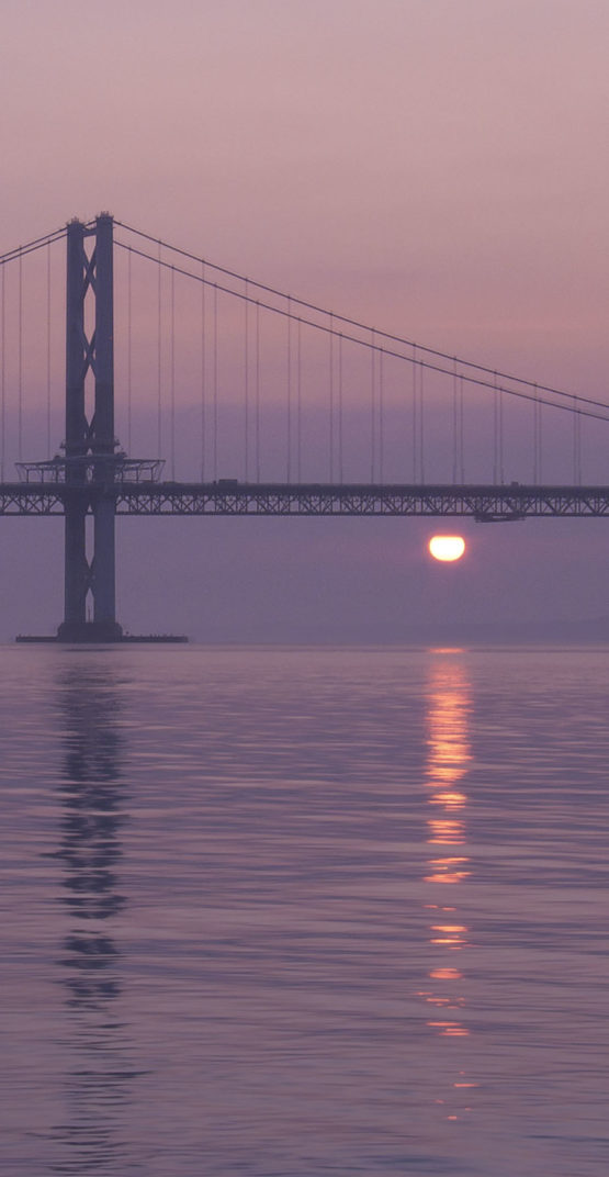 scotland firth of forth brigde in the sunset