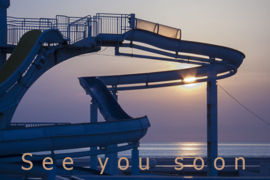 waterslide at sunset